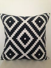 Aztec Moroccan Abstract  Black White Cotton Nordic Embroidery Cushion Cover 18""