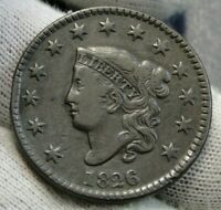 1826 Penny Coronet Large Cent - Nice Coin, Free Shipping  (002)