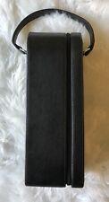 Leeman Design Wine Caddy Tote Carrier Case Bottle Holder Black Leather Zippered