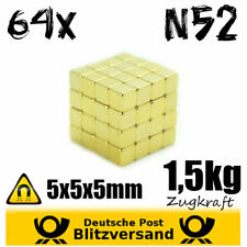 64X Neodymium Magnet Dicer 5X5X5MM N52 Gold Plated Whiteboard Small GEOCACHING