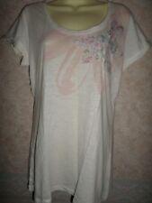 Marks and Spencer Cream Coton Extensible T Shirt Avec Fleurs Motif Taille 14