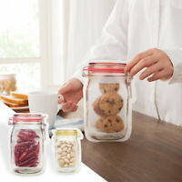 12Pcs PE Lock Pouch Food Storage Zipper Bags Smell Proof Reusable Bags Lot