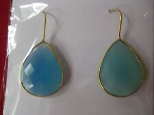 Saachi  18K Gold Clad Faceted Blue Chalcedony Earrings, NWT
