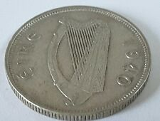 1940 Irish Florin coin 2s Eire 75% Silver (ref 2)