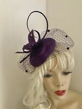 Fascinator Purple Pillbox Wedding Hat Formal Headpiece Hatinator Veil Dots
