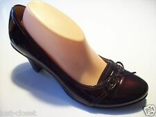 Sofft Brown Patent Leather Eyelet Tie Pumps High Heels Shoes Size 9.5 @ cLOSeT