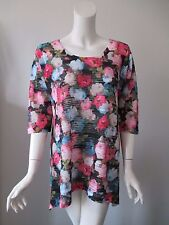Nally Millie Sweet Floral Prints Scoop Neck Asymmetrical Hem Top Blouse L