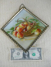 """Antique Victorian Flue Cover Lithograph Peaches in Fruit Basket 7"""" Germany"""