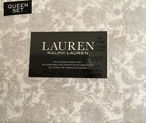 RALPH LAUREN White with Gray Floral  Queen Deep Fitted Sheet Set  New in package