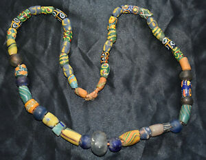 VERY OLD TRADE COLORFUL GHANAIAN GLASS BEADS NECKLACE AFRICA 49  BEADS.