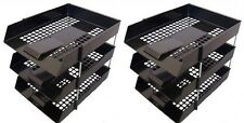 6 BLACK A4 Letter Filing In Out Desk Trays + 4 Risers Stacking Paper Office