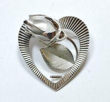 Vintage Hsb Sterling Silver Rose Heart Brooch Pin Au161016