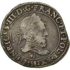 Monnaies, France, Henri III, Franc au Col Fraisé, 1582, Toulouse, TTB #471832