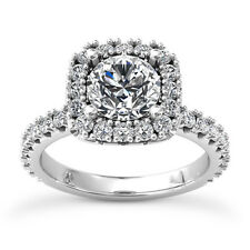 Halo Pave 1.77 Carat Round Cut Natural Diamond Engagement Ring White Gold
