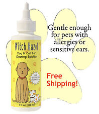 WITCH HAZEL NATURAL DOG CAT EAR CLEANER FUNGAL BACTERIAL INFECTION TREATMENT 4oz