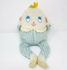 VINTAGE EDEN BABY HUMPTY DUMPTY RATTLE CHIME BLUE STUFFED ANIMAL PLUSH TOY DOLL