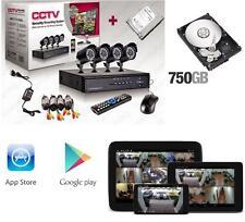 KIT VIDEOSORVEGLIANZA 4 CANALI TELECAMERA INFRAROSSI+750 HD+DVR+ALIMENTATORE NEW