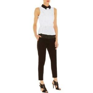 Karen Millen White Beaded Collar Blouse Sleeveless Shirt Top UK 10 EU 38 US 6