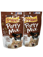 Purina Friskies Cat Treats Party Mix 2.1oz-Lot of 2-Wild West Crunch Beef Liver