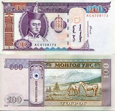 Banknote 2000 100 one hundred Tugrik bill UNC uncirculated new mint Mongolia
