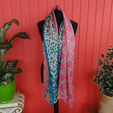 KAYTIE WU faux silk large SCARF pink green turquoise animal diamond print NWT