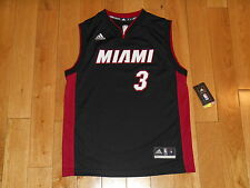 New adidas Rev30 DWYANE WADE Black MIAMI HEAT Youth NBA Team Replica JERSEY Med