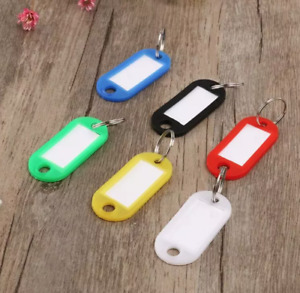 100x Assorted Key Tags key Ring Plastic FOB Label Name Car ID Tag Mixed Identity