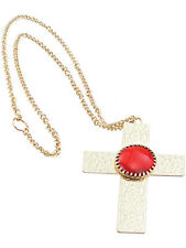 Nun Vicar Fancy Dress Gold Cross Medallion Necklace 1970's Red Jewelled Vampire