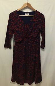 Monsoon Ladies V-Neck Dress Red & Blue Floral 3/4 Sleeve Casual Size 12 (.003)