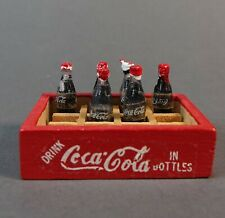 Vtg Tiny Mini Coca-Cola 6 Bottles in Wood Crate Case Doll House Sized 1/12 Scale
