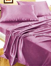 Completo MATRIMONIALE RASO letto set biancheria lenzuola fodere cuscini lilla
