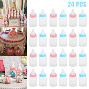 24x Blue Pink Fillable Bottles for Baby Shower Favors Party Decoration Girl Boys