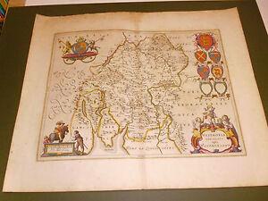 100% ORIGINAL LARGE WESTMORLAND MAP BY J BLAEU C1648 HAND COLOURED