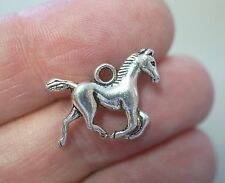 10 Horse Charms, Horse Pendants - 19mm - Metal Antique Silver
