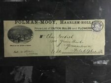 1897 Haarlem Netherlands Wrapper Cover To Philadelphia USA Dutch Bulbs & Flowers