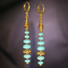 Natural Turquoise Long Silver Earrings