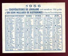 """calendrier publicitaire """" Coopérateurs de Lorraine """" 1956"""