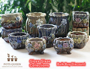 POTS QUEEN Gloss Glaze Ceramic Succulents Cactus Pots Handmade 3D Flower Blue