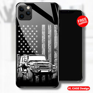 American Flag Jeep Off Road Glass Phone Case Samsung Huawei iPhone Xiaomi Gift