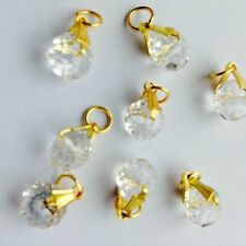 10 Pcs Clear Crystal Gold P Jewelry Making charms fit Chain Bracelet & Necklaces