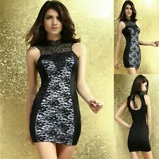 Sz S 8 10 Black White Lace Halter Bodycon Dance Party Club Cocktail Slim Dress