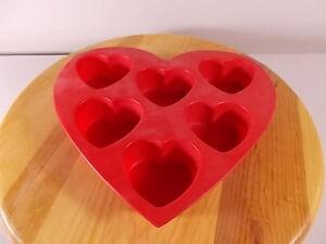 New No Box Wilton 6 Cavity Silicone Heart Mold Pan Valentine