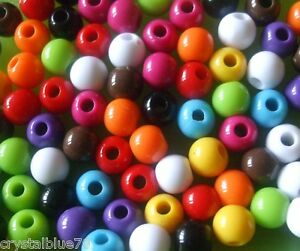 200 x Acrylic Beads 6mm Round Solid Colour Plastic Choice of 10 Colours - ABRS01