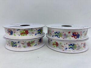 "4 Rolls Wrapped Gift Print Decorative Ribbon 5/8"" x 9' Per Roll"