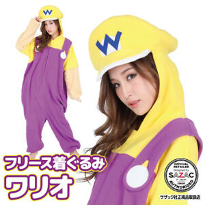 SAZAC Super Mario Brothers Wario Fleece Costume Halloween Unisex Adult Japan New