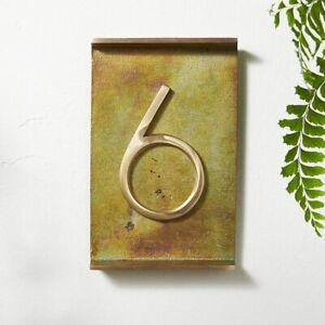 Crate & Barrel CB2 Rough Cast Brass House Number 6 #6 Six Address # - NWT
