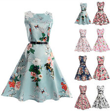 UK Vintage Kids Girls Sleeveless Printing Swing Skater Party Dress Age5-13Y
