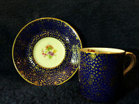 BEAUTIFUL! Vintage Paragon Demi-Tasse - Cobalt Blue & Gold Cup & Saucer Set