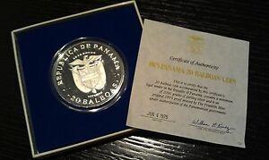 4 oz .925 Silver Coin Bullion Proof Panama 20 Balboas - 1975. COA.
