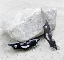 Black Small Mini Batman Keychain Spring Assisted Pocket Knife Folding Blade